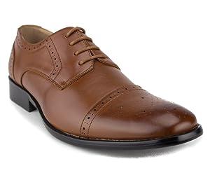 Men's 95733 Leather Lined Cap Toe Lace Up Dress Oxford Shoes, Cognac, 7.5