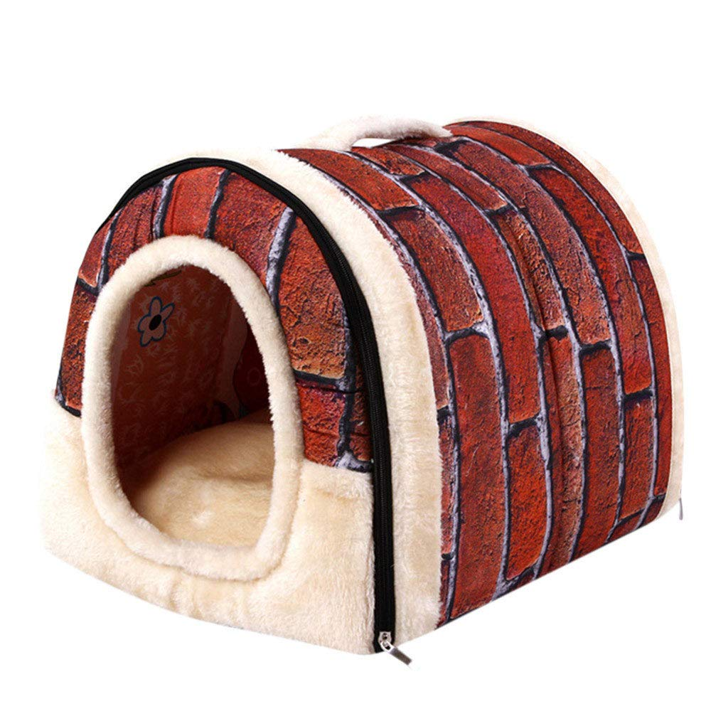 Red Pet Dog Cat Bed House Warm Soft Kennel Removable Pet House (Black)