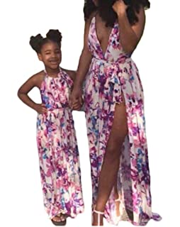 ae369c55e99 Mother Daughter Summer Halter Strappy Printed Maxi Dress Family Matching  Clothes