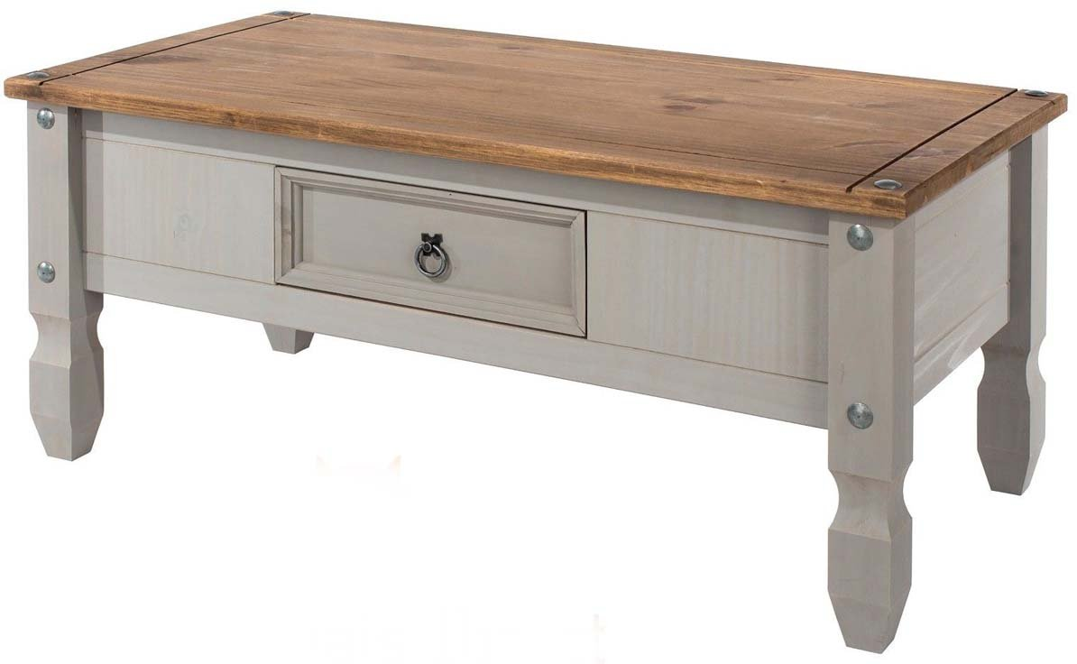 Core Products Corona Grey 1 Drawer Coffee Table Distressed Waxed Pine Finish