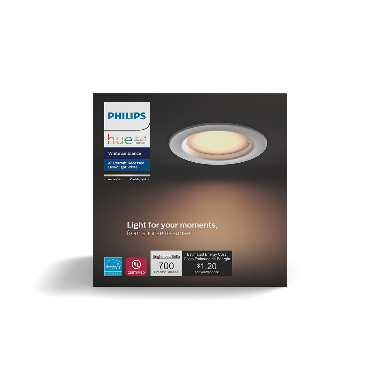 Philips Hue White Ambiance Dimmable LED Smart Retrofit Recessed Downlight (4-InchCompatible with Amazon AlexaApple HomeKitand Google Assistant)