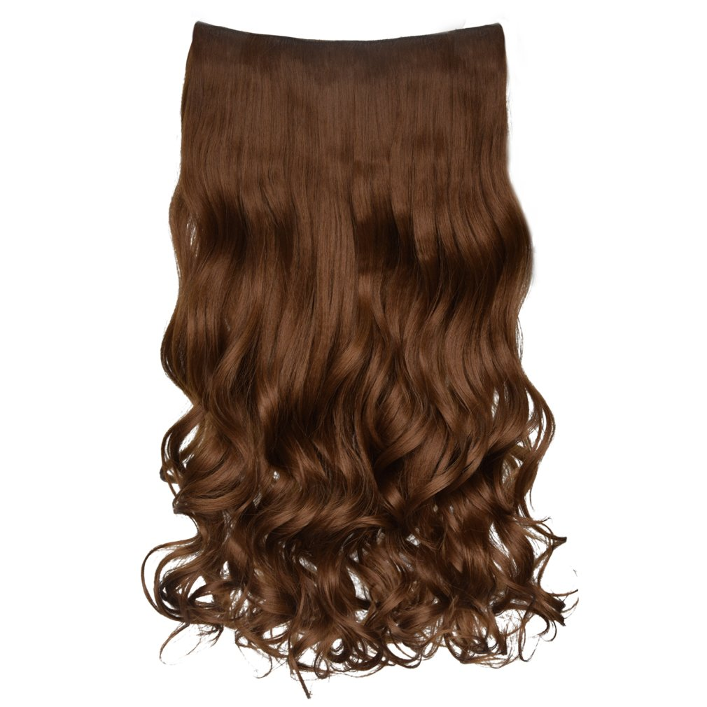 """REECHO 20"""" 1-pack 3/4 Full Head Curly Wave Clips in on Synthetic Hair Extensions Hair pieces for Women 5 Clips 4.6 Oz Per Piece - Chestnut Brown"""