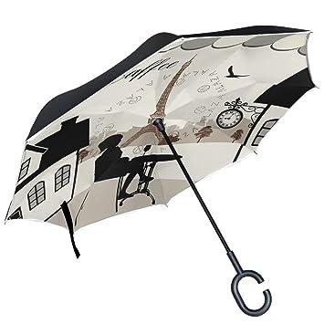 ALAZA restaurante parisino de la torre Eiffel Eagle reloj café puede paraguas paraguas plegable de doble
