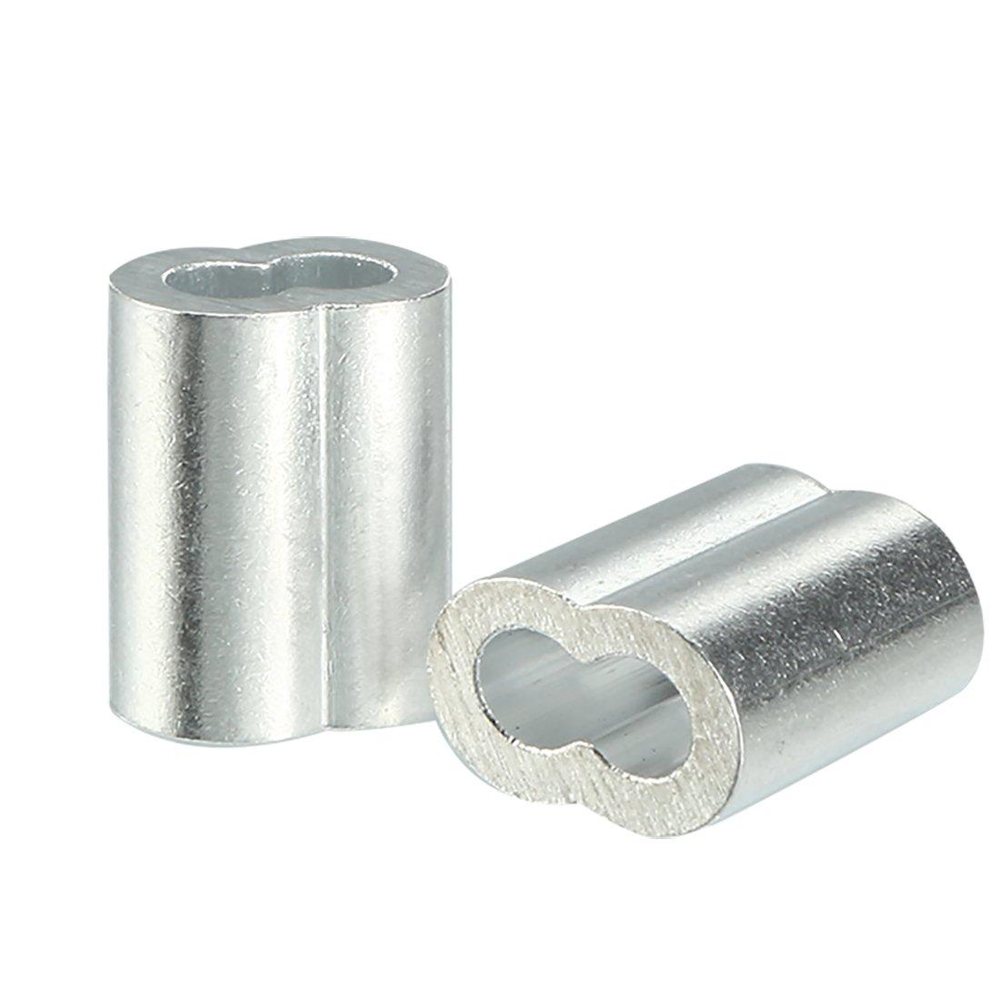 sourcingmap 3 millimetri 1/8-pollice fune metallica cavo Manicotti di alluminio clip di piegatura cerchi 50Pz