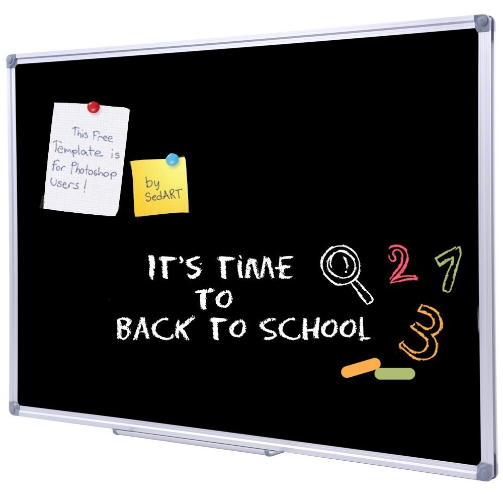 48 x 36 inch School Large Chalkboard for Wall, Hanging Magnetic Black Chalk Board with Aluminum Frame and Marker Tray