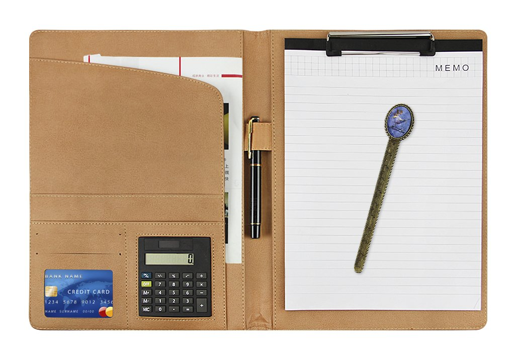 Portadocumenti in pelle Business Notepad file cartella Portablocco conferenza riunione writing Pad Signiture Refillable documento file organizer con scomparti, calcolatrice e porta penna. Black BXT