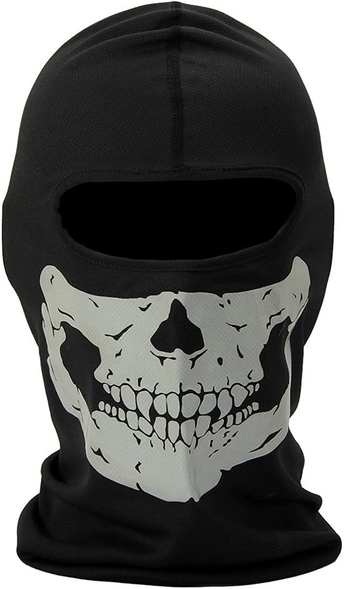 Aikuer Black Balaclava Ghosts Skull Full Face Mask, Windproof Ski Mask Motorcycle Face Masks Tactical Balaclava Hood for Men Women Youth Halloween Cosplay Outdoor Sport Cycling Hiking Skiing : Clothing