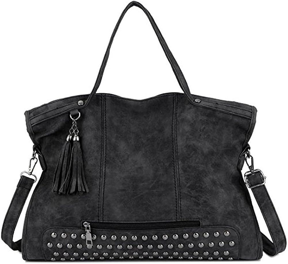 YOURNELO Womens Top Handle Satchel Leather Handbag Punk Motorcycle Rivet Studded Tassel shoulder bag