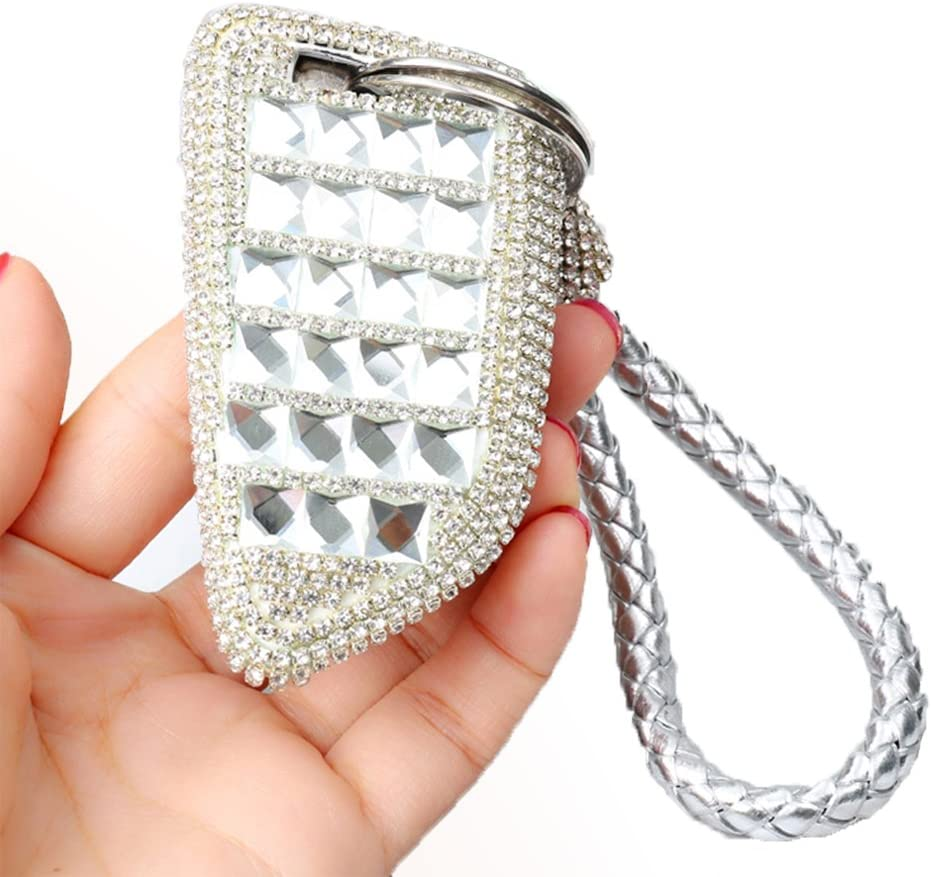 A Type-silver Thor-Ind Luxury Bling Crystal Diamond Key Fob Case Cover KeyChain For/ BMW 1 3 4 5 6 7 Series X3 X4 M5 M6 GT3 GT5 3//4 Buttons Keyless Entry Remote Control Smart Key Protective Shell Bag