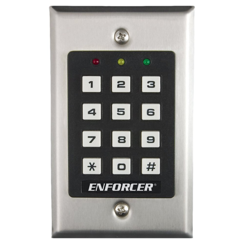 Output can be programmed to activate for up to 99,999 seconds Seco-Larm SK-1011-SDQ ENFORCER Access Control Keypad 4-8 digits nearly 28 hours Up to 1,000 possible user codes