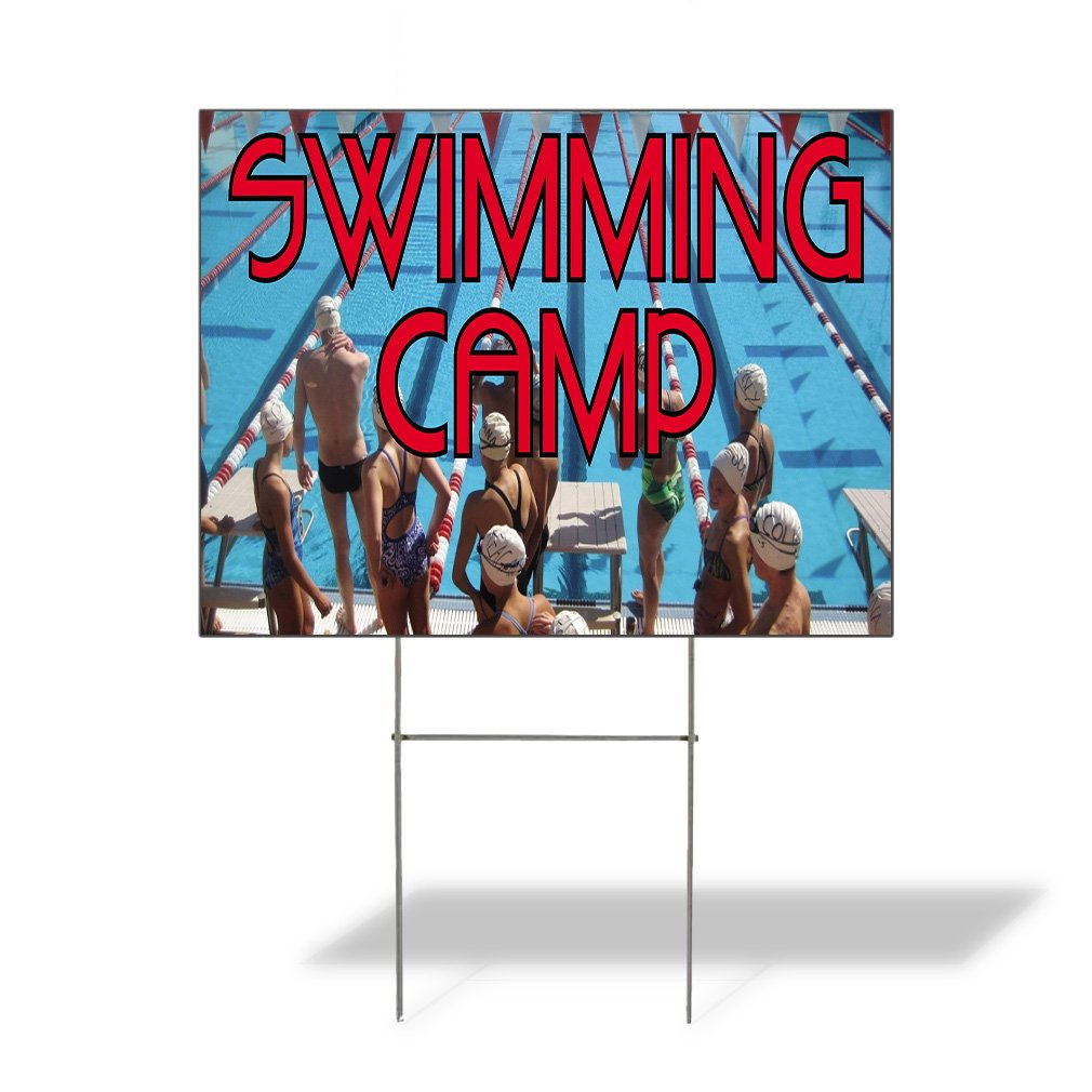 Plastic Weatherproof Yard Sign Swimming Camp People in Swimming Pool Swim Swimming White Swimming Camp for Sale Sign Multiple Quantities Available 24INx18IN Two Sides Print Set of 5 by Sign Destination