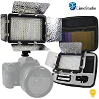 LimoStudio 216 Barndoor Continuous LED Video Table Top Studio Lighting Kit, Portable Li-ion Battery and Charger