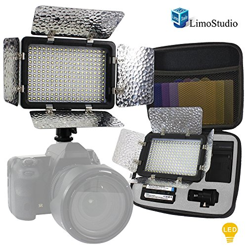 LimoStudio 216 Barndoor Continuous LED Video Table Top Studio Lighting Kit, Portable Li-ion Battery and Charger, Color Filters, Hard Case Carry Bag, Photo Studio, AGG1815 by LimoStudio