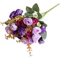 Sanwooden 1 Bouquet Artificial Plastic Rose Flower Plant Home Office Shop Decoration
