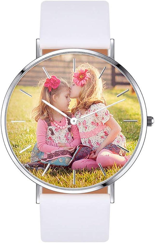 Custom4U Personalizado Reloj de Pulsera Impermeable con Movimiento de Cuarzo Japonés para Hombre y Mujer con Foto Personal y Texto Grabado Gratis Redondo/Cuadrado