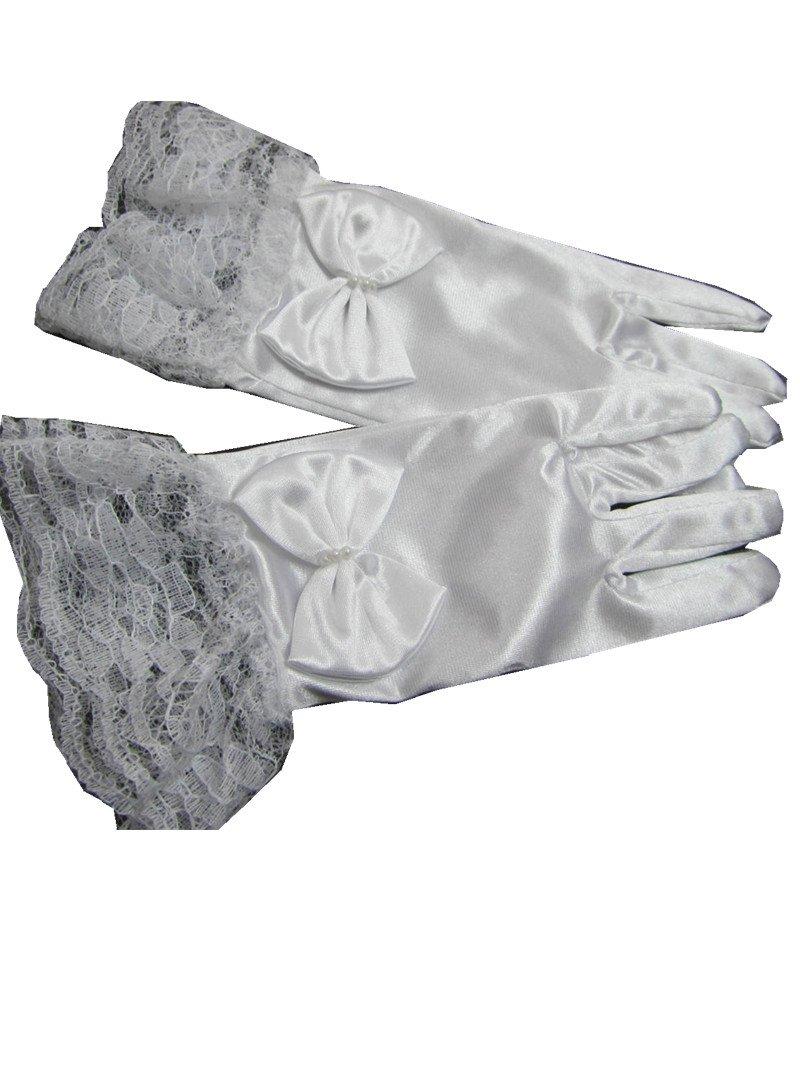 C.X Trendy Girls White Satin Gloves Bridal Princess Dress Up Bride's Maid Wedding (M (3-8), White)