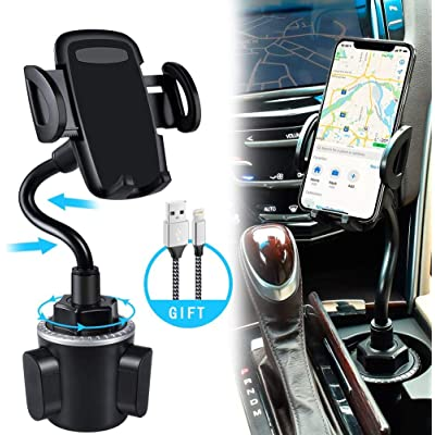 bokilino Car Cup Holder Phone Mount, Universal Adjustable Gooseneck Cup Holder Cradle Car Mount for Cell Phone iPhone 11 Pro/11 Pro Max/11/X/Xs/Xs Max/8/8Plus,Samsung,Huawei,LG, Sony, Nokia (Silver)