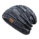 REDESS Beanie Hat For Men and Women Winter Warm Hats Knit Slouchy Thick Skull Cap Variegated Mix- Navy