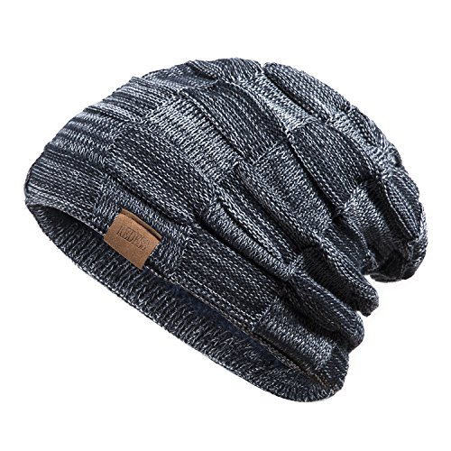 - REDESS Beanie Hat for Men and Women Winter Warm Hats Knit Slouchy Thick Skull Cap(Navy)