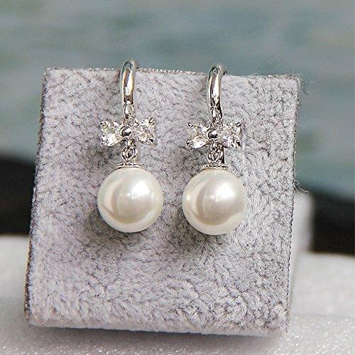 usongs Simple hypoallergenic perfect circle shell beads pearl earrings rhodium-plated ring zircon ear studs earrings women girls butterfly ()