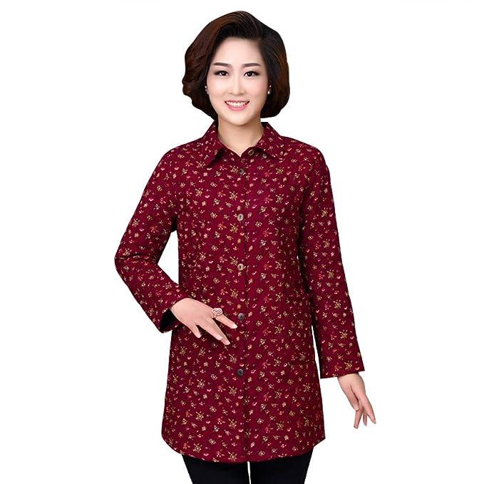 XFentech Mujer Invierno Camisa Abrigos - Impresión Chaqueta de Algodón Cálidas Talla Grande - Colores Múltiples Disponibles: Amazon.es: Ropa y accesorios