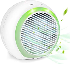 Personal Air Conditioner, 4 in 1 Air Conditioner Fan, Quiet USB Mini Portable Air Cooler, Desktop Cooling Fan with 7 LED Light and 3 Speeds for Home, Office