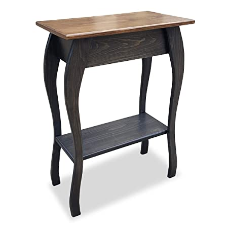 Slim Wooden End Table Amish Furniture Thin Narrow Side Tables for Living Room, Hallway, or Nightstand Mocha