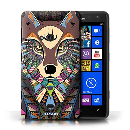 Etui / Coque pour Nokia Lumia 625 / Loup-Couleur conception / Collection de Motif Animaux Aztec