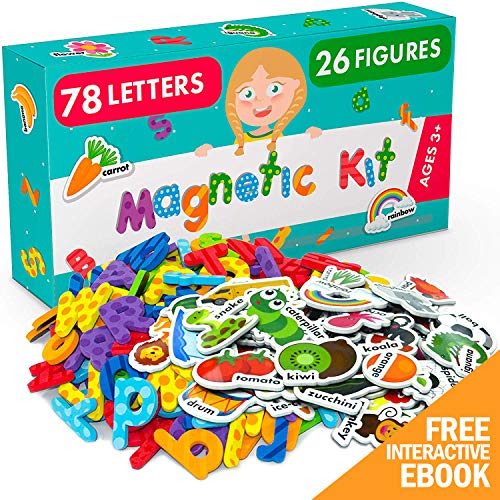 X-bet MAGNET Magnetic Letters and Foam Magnets for Toddlers and Kids - Alphabet Magnets for Fridge and Dry Erase Board - Baby Magnets with Zoo and Farm Animals - Educational Toy - Ideal for Kids!