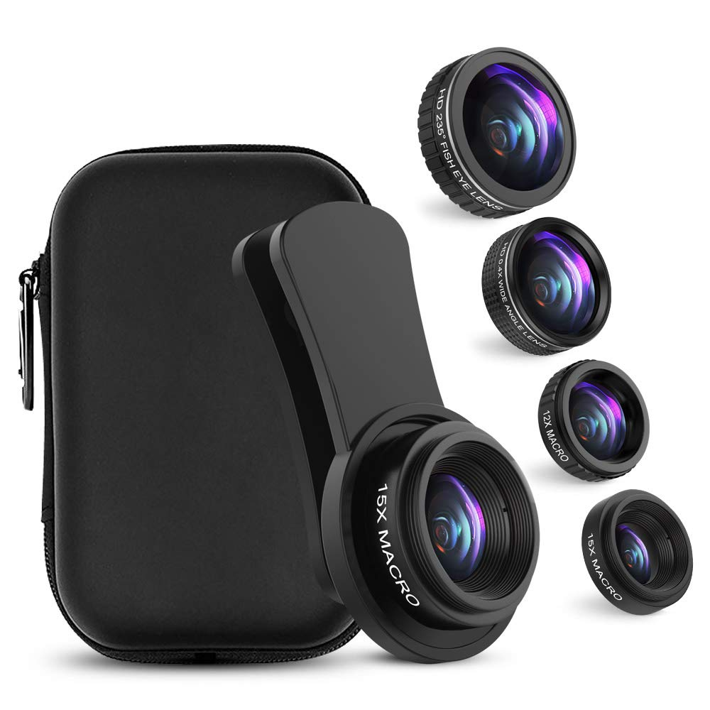 Cell Phone Camera Lens, UMTELE iPhone Lens Kit, 0.4X Wide Angle Lens & 12X Macro Lens + 235° Fisheye Lens & 15X Macro Lens for iPhone X/8/7/6/5/7 Plus/6 Plus and Most Android Phones