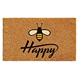 "Calloway Mills 101231729 Bee Happy Doormat, 17"" x 29"" Natural, Black"