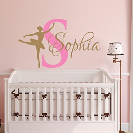 Amazon.com: Ballerina Wall Decal Girl Name Dancing Nursery ...