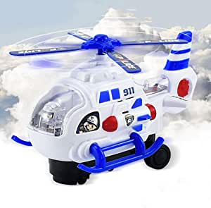 Mopoq Children's Electric Universal Plane Baby Helicopter Off-road Lighting Bus Boy Toy Car Model 3 Section 5th Charging Package