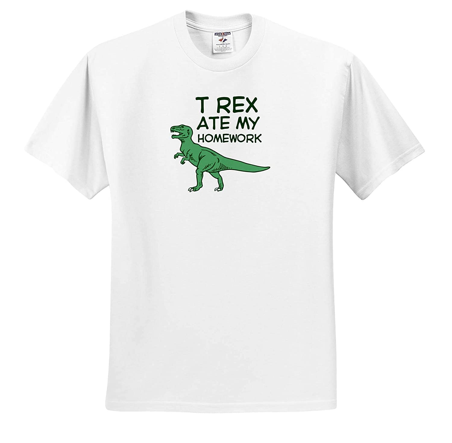 3dRose Russ Billington Designs Funny T Rex Ate My Homework Design in Green and White T-Shirts