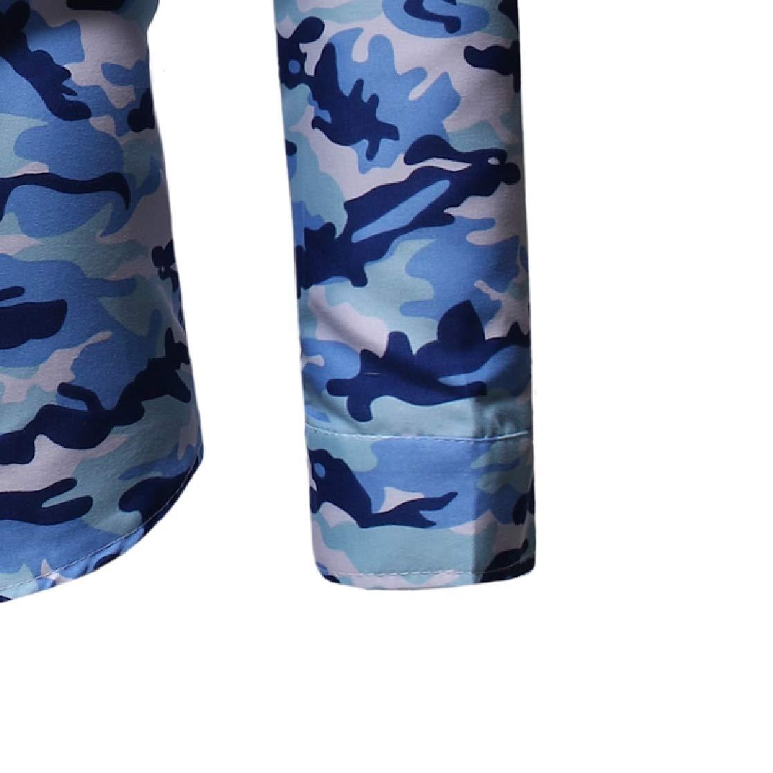 YUNY Mens Army Camo Plus Size Skinny Mid-Long Tees Polo Shirts 2 L