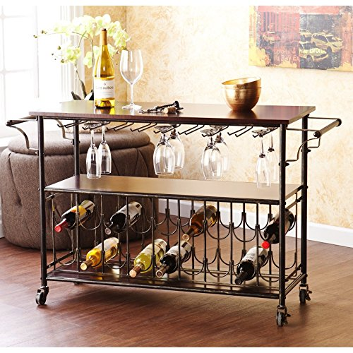 Wine Bar Cart Serving Table Espresso & Black. Home Tuscany Rolling Rack Makes An Elegant Kitchen Island or Dining Room Furniture Piece Guaranteed. Party Perfect With It's Sturdy Iron Metal & Wood, Locking Casters, Shelves, & Has Room For 18 Bottles. (Wine Rack For Dining Room)