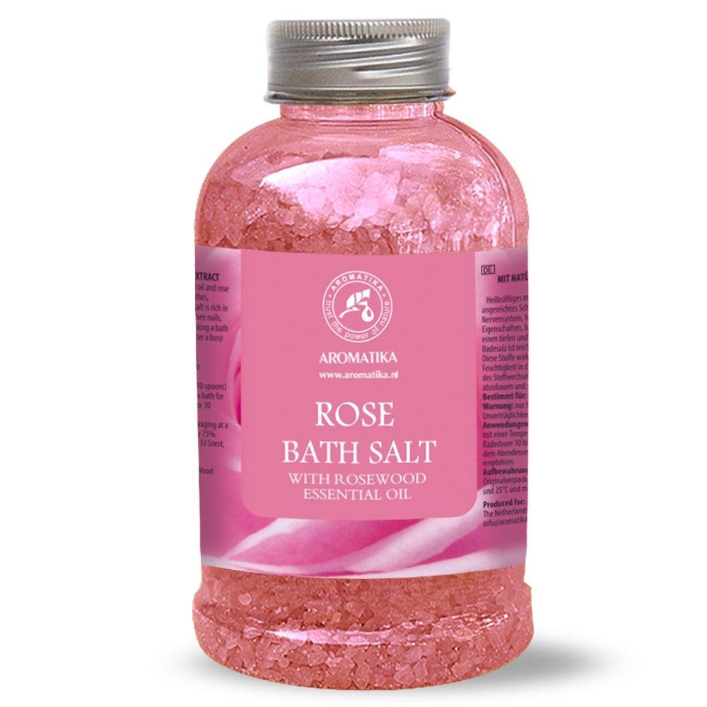 Sale Da Bagno Rosa Marino Con Olio Essenziale Di Rose 600g - Sale Da Bagno Naturale Per Un Buon Sonno - Riduzione Dello Stress - Bellezza - Cura Del Corpo - Relax - Aromaterapia Di Aromatika
