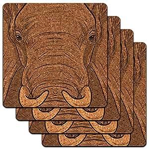 Elephant Face Safari Low Profile Cork Coaster Set