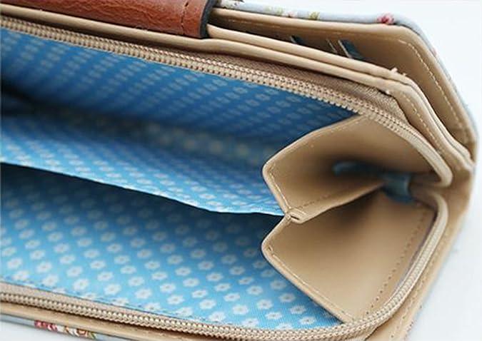 Mujer cartera lindo floral suave cuero embrague monedero compacto tarjeta caso regalo para ella (Azul): Amazon.es: Zapatos y complementos