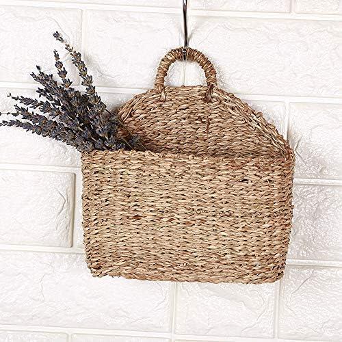 HXHON Hängekorb, geflochtener Blumenkorb Hängeaufbewahrungstasche Weidenkorb Aufbewahrungskorb Naturweide mit Griff an der Wand montiert Hängende Vase Container Pflanzenhalter