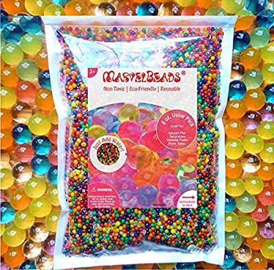 MarvelBeads Water Beads Rainbow Mix, 8 ounces (half pound), for Orbeez Spa Refill, Sensory Toys and Décor