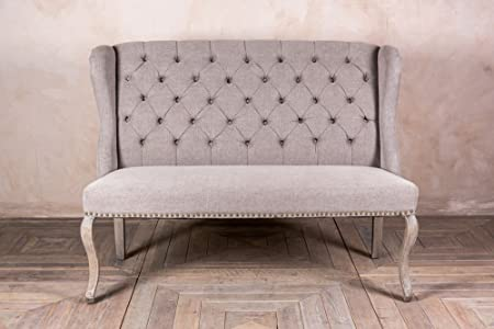 Peppermill UPHOLSTERED 2 SEATER FRENCH LOUIS STYLE SOFA WITH BUTTON BACK IN  STONE