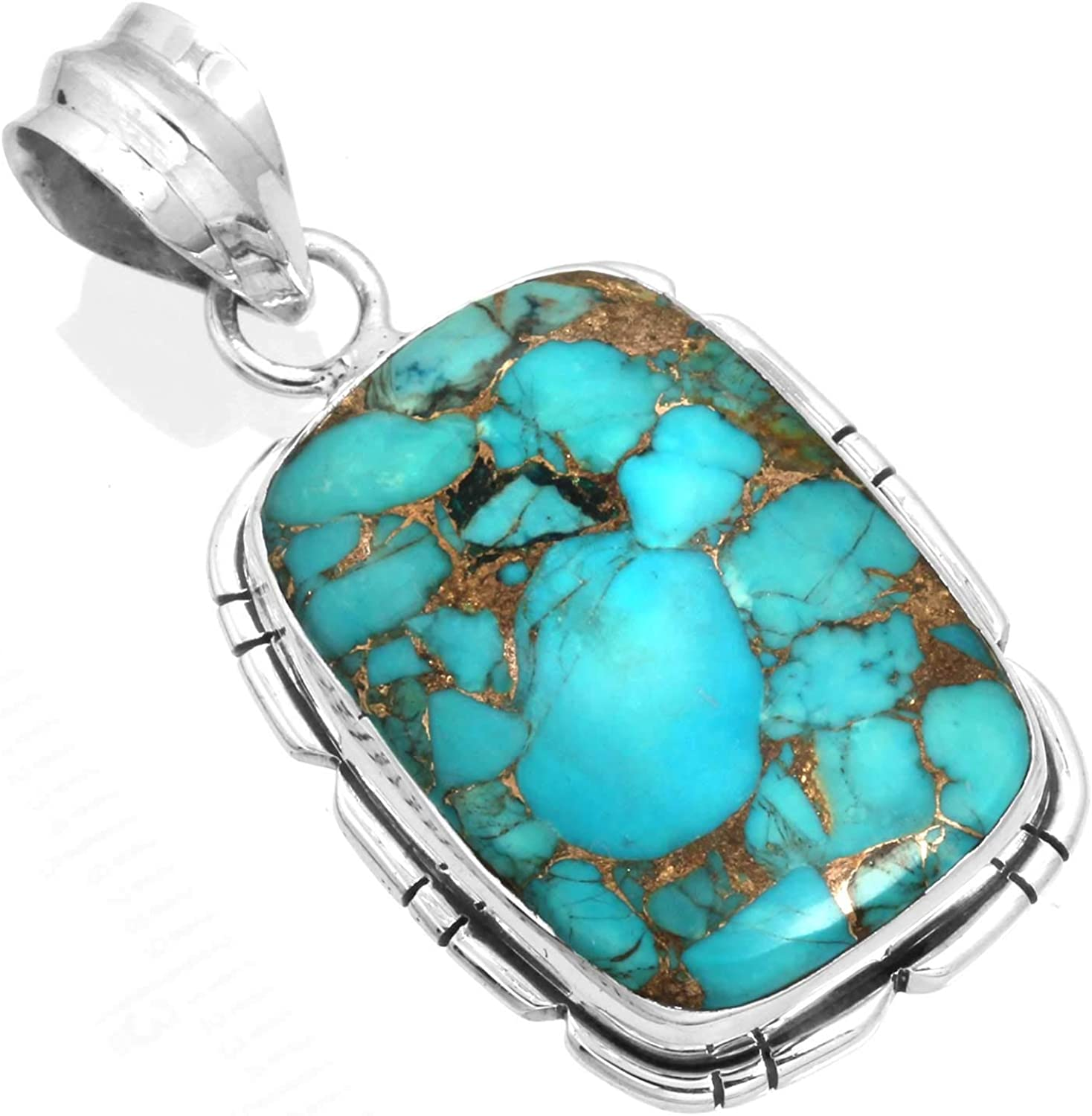 Natural Copper Blue Turquoise Gemstone Stylish Jewelry Solid 925 Sterling Silver Pendant