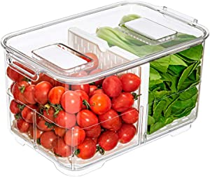 Slideep 9'' Food Storage Containers, 2 Tier Stackable Fridge Produce Saver with Lids, Removable Drain Tray Drawers Refrigerator Produce Keeper with Strainer for Veggie, Berry, Fruits, Vegetables