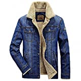 BABY-QQ New style men and coats brand clothing denim Fashion mens jeans thick warm winter outwear male cowboy YF055 8659 Deep BlueX-Large