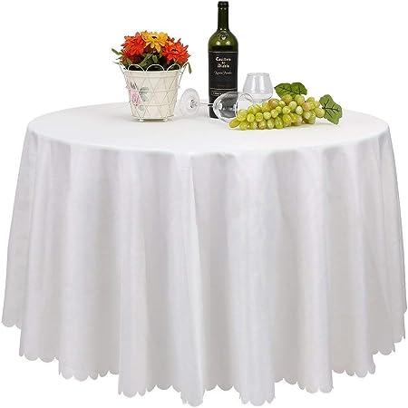 Femor – Juego de 10 manteles blancos de mesa redondos para hogares, restaurantes, bodas y ceremonias, de 305 cm, blanco, 305 cm: Amazon.es: Hogar