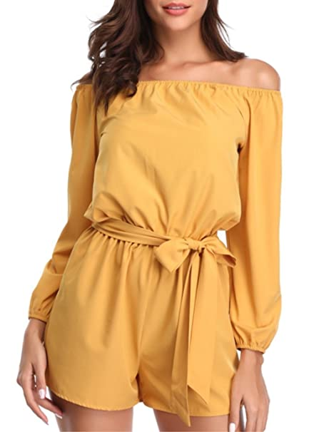 5bda37451dc Amazon.com  MISS MOLY Rompers for Women Strapless Off The Shoulder Long  Sleeve Short Jumpsuits with Belt  Clothing