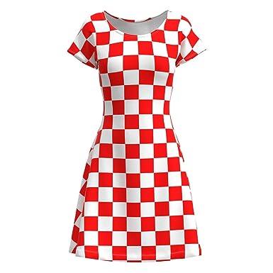 EightyThree XYZ Red White Checkered Box Check Women s Short Sleeve Skater  Dress - XS 5e46c09eb7