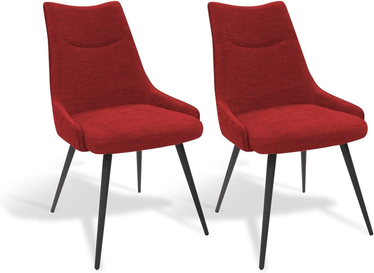 Meubletmoi Lot de 2 chaises Tissu Rouge et Pieds métal Noir