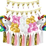 Palmay 48 PCS,Unicorn Theme Decorations Set for Kids Birthday Party with Rainbow Unicorn Shape Balloons,Happy Birthday baners,Pink Gold White Balloons,Tassel Garland
